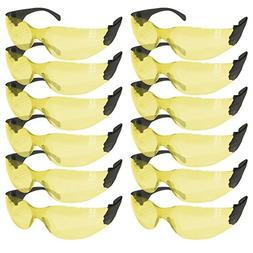 SAFE HANDLER Protective Safety Glasses, Yellow Polycarbonate