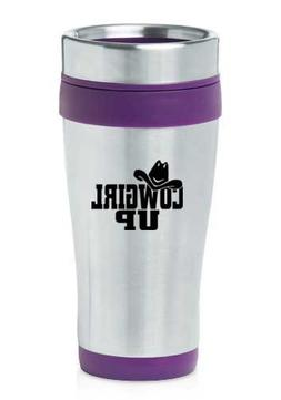 Purple 16oz Insulated Stainless Steel Travel Mug Z78 Cowgirl