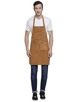 Genuine Leather Grill Work Apron with Tool Pockets ~ Adjusta