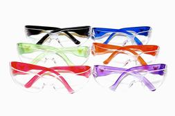 12 Pair Safety Glasses Clear Anti-Fog Lens Colored Temple Wo
