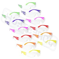 SAFETY GLASSES MULTI COLOR CLEAR LENS 12/BOX ADULT SZ