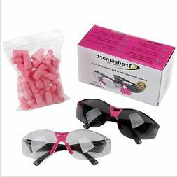 TRADESMART 2 x Womens Safety Glasses Pink with 25PK Earplugs