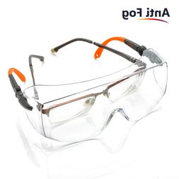 SAFEYEAR Large Size Safety Goggles Over Glasses Anti-fog Cle