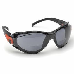 Elvex Safety Glasses w Bifocal RX +2.5 Gray Anti-fog UV Lens