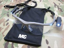 3M SAFETY GLASSES w. LED FLASHLIGHTS ANTI-FOG PROTECTIVE EYE