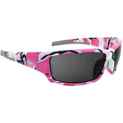 Safety Glasses with Smoke Lens, Pink Camo Frame, fishing, hu