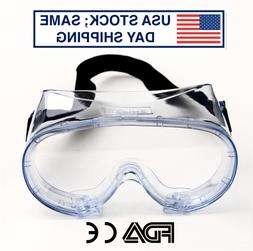 Safety Goggles Over Glasses Anti Fog Clear Protective Eye Gl