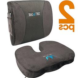SOFTaCARE Seat Cushion Coccyx Orthopedic Memory Foam and Lum