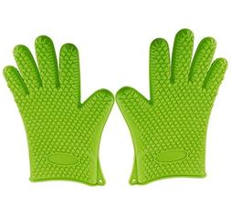 Heat Resistant Gloves – Green Cooking Insulated Silicon Mi