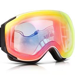 Ski Goggles, YAKAON Y3 Frameless Snow Goggles Anti-fog Dual