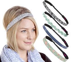 Hipsy 5pk Women's No Slip Headband Adjustable Aqua Flower Vi
