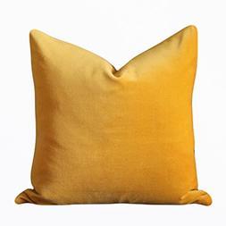 Soft Yellow Velvet Cover Pillow Case Lumber Pillow Case