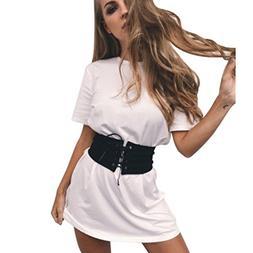 HOT SALE !Solid Casual Mini Dress With Belt,BeautyVan Beau