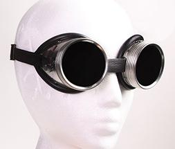 Steampunk Metal Welding Goggles - Dark Tinted Glass Lens wit