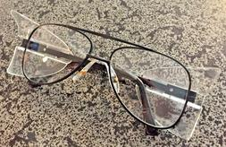 Stylish Retro Aviator Safety Glasses Black Frame Clear Lens