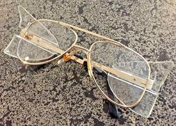 Stylish Retro Aviator Safety Glasses Gold Frame Clear Lens C