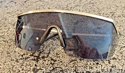 Stylish Retro Wrap Around Safety Glasses Gold Frame Grey Len
