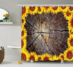 Ambesonne Sunflower Decor Collection, Cut section of Wood St