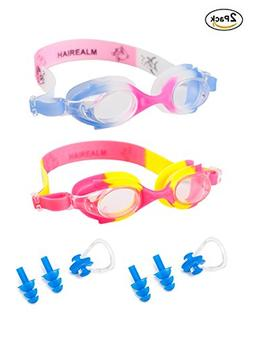 HAIREALM Kids Swimming Goggles,Pack of 2, Clear Anti Fog UV
