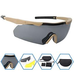 XAegis Tactical Eyewear 3 Interchangeable Lenses, Outdoor An