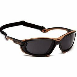 Toccoa Safety Glasses, Black/Tan Frame, Gray H2MAX Anti-Fog