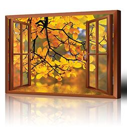 Wall26 - Modern Copper Window Looking Out Into a Yellow Tree