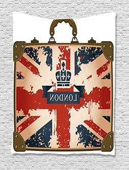 Union Jack Tapestry by Ambesonne, Vintage Travel Suitcase wi