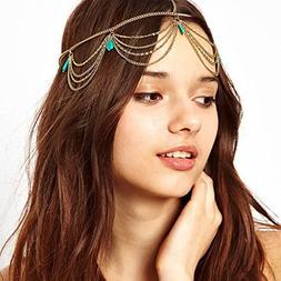 Pandahall 1 Pcs Unique Turquoise Chain Jewelry Headband Part