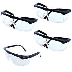 HQRP 4-pack Untinted Safety Eyewear / UV Protection Glasses