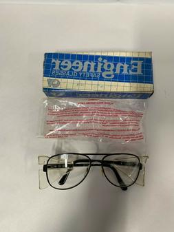 Stylish Retro Aviator Safety Glasses Black Frame Clear Lens Crews Engineer
