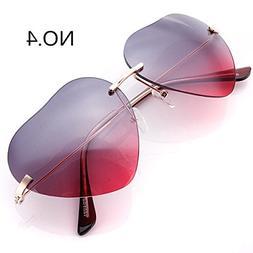 UV400 Outdoor Sunglasses Heart Shaped Metal Frame Sunglasses