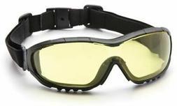 Pyramex V3G Safety Goggles, Black Strap/Temples/Amber Anti-F