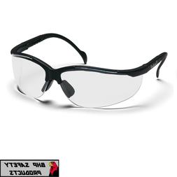 PYRAMEX VENTURE II BLACK FRAME SAFETY GLASSES W/ CLEAR ANTI-