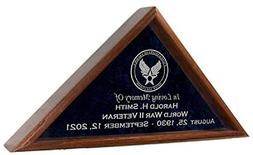 Veteran Funeral Flag Display Case w/ Military Emblem - INCLU