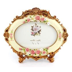 4x6 Inches Victorian Floral Decorated Oval Photo Frame for H