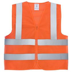 Diamond High Visibility Neon Orange Zipper Front Safety Vest