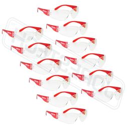 vision red frame clear lens safety glasses
