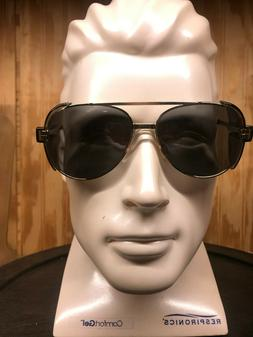 Vtg. Engineer Safety Glasses  Stylish Aviator Tinted w/ Side