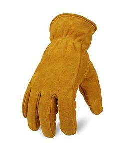 OZERO Warm Gloves, Genuine Cowhide Leather Snow Working Glov