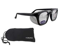 Wayfarer Style Safety Glasses Clear Night Riding Vtg Retro S