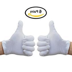 White Cotton Gloves, Matte 100% Cotton Stretchy Wrist Length