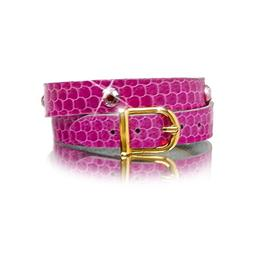 Leather Wrap Bracelet in Pink Snakeskin, with Light Amethyst