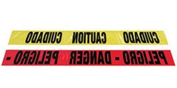 "Radnor 3"" X 1000' Red 2 Mil Bilingual Barricade Tape ""Danger"