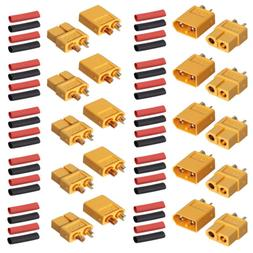 10pairs XT60 Power Plug Connectors with 20 pairs Heat Shrink