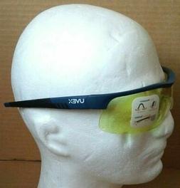 Yellow Blue-Framed Uvex Safety Glasses Adjustable Nose Comfo